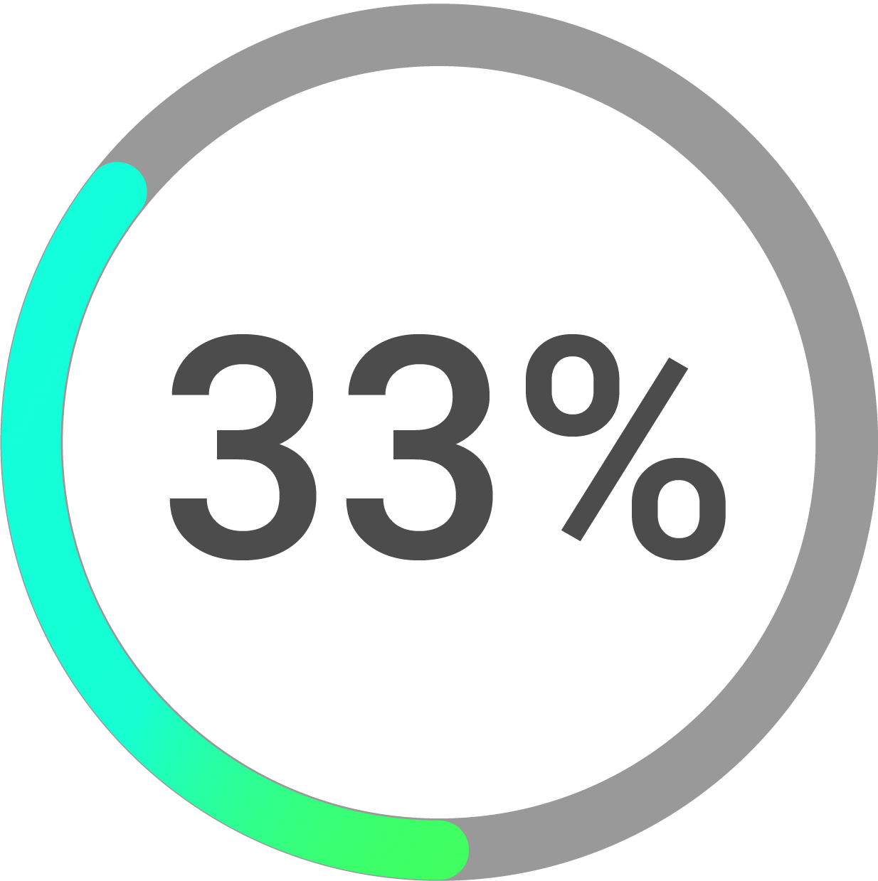 Circle progress icon percentage 33