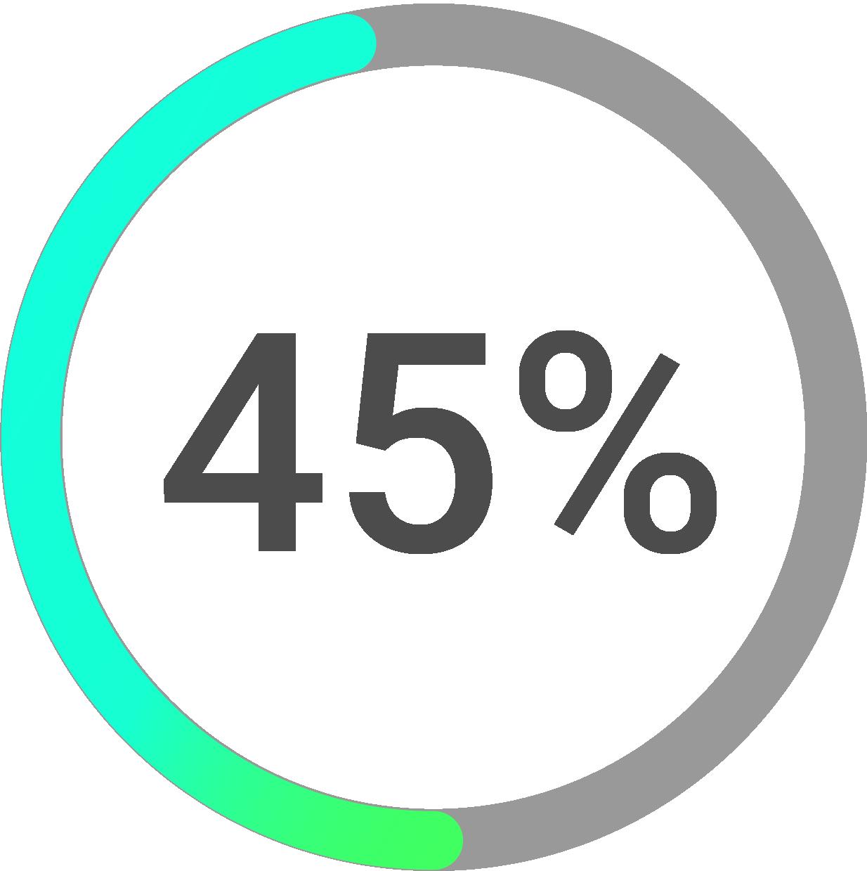 Circle progress icon percentage 45
