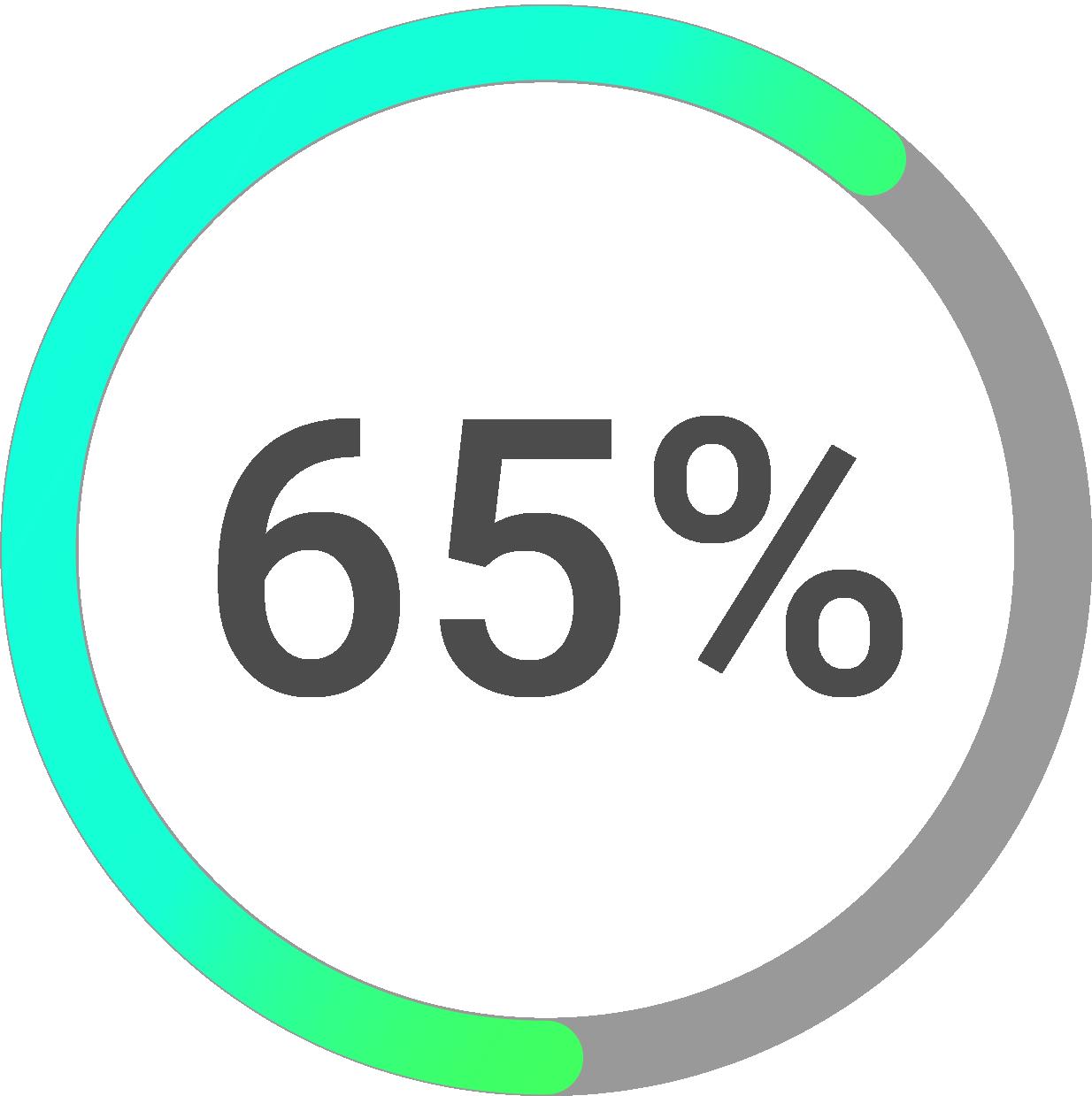 Circle progress icon percentage 65%