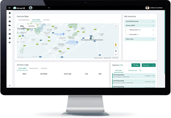 Disrupt-X Smart ANPR-IoT Solution Dashboard On Screen